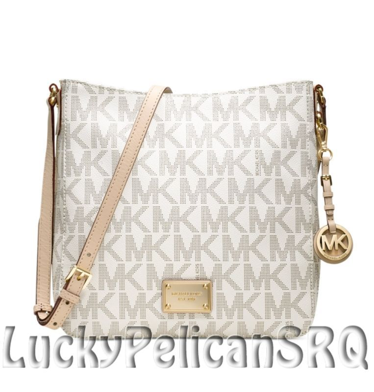 64a90de7e9 Michael Kors Jet Set Large MK Signature PVC Messenger Crossbody Bag Vanilla  NWT