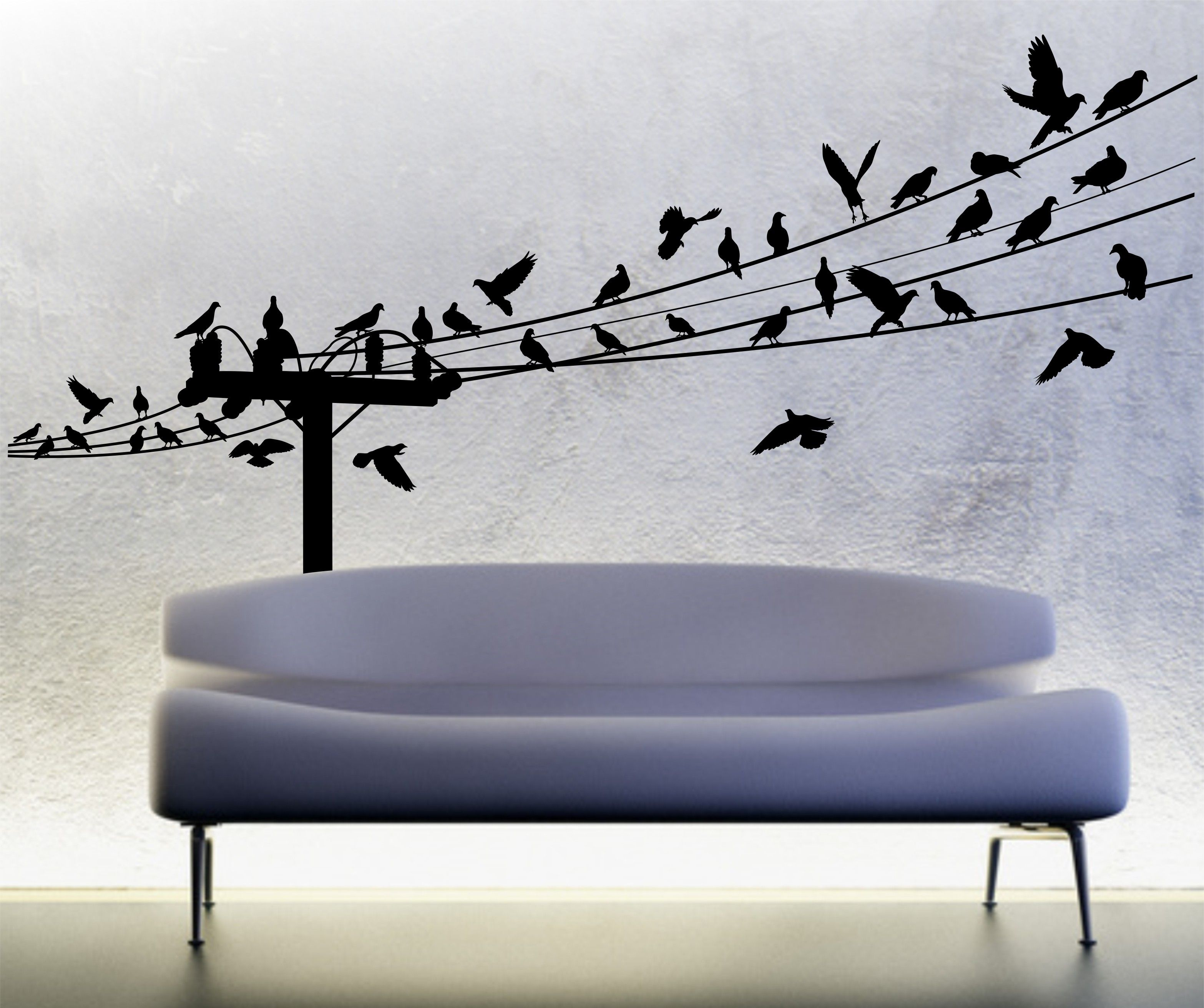 BIRDS ON A WIRE wall decal 7 Feet Long - flying birds vinyl wall ...