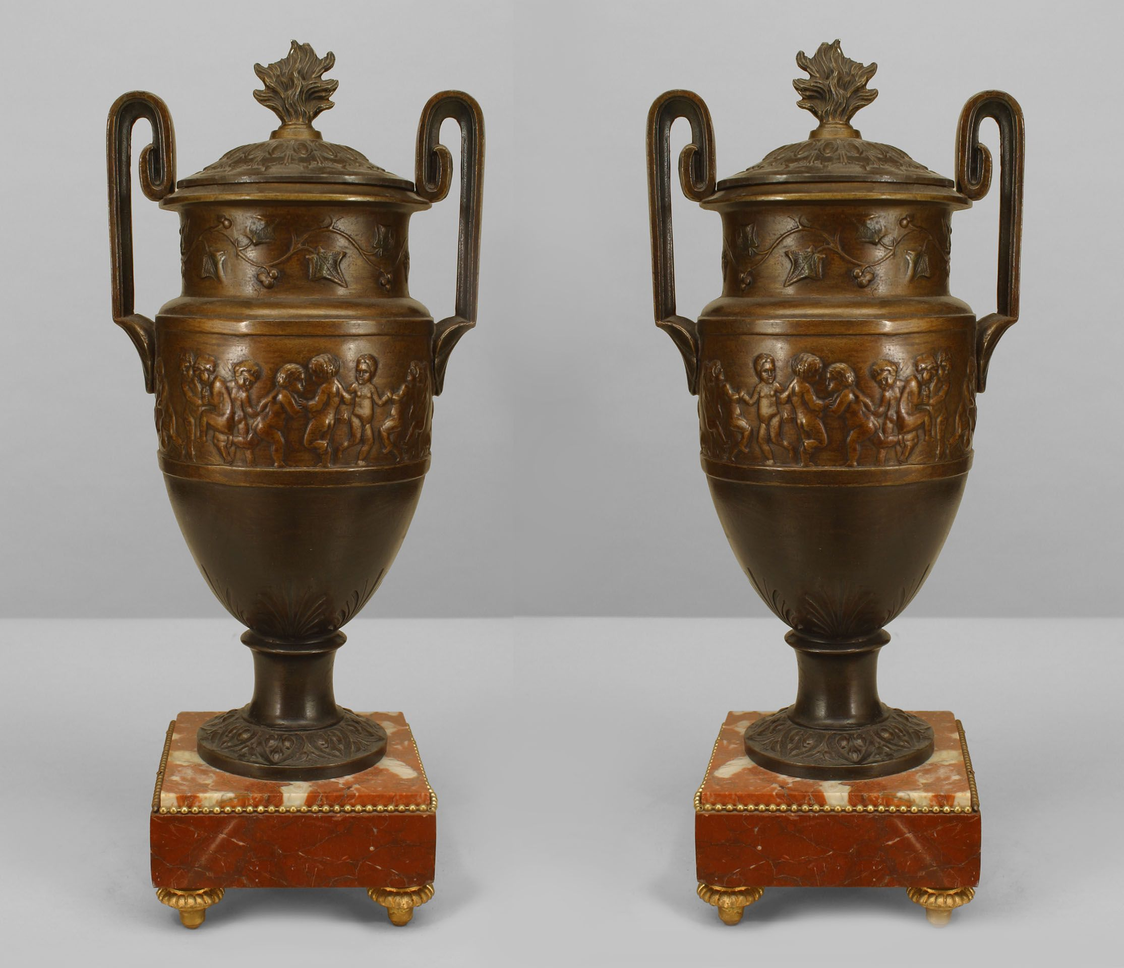 French victorian accessories urnvase bronze urns pinterest pair of french victorian style bronze patinaed metal urns with handles and neo classical figures in relief with a cover having a flame finial all on a rouge reviewsmspy