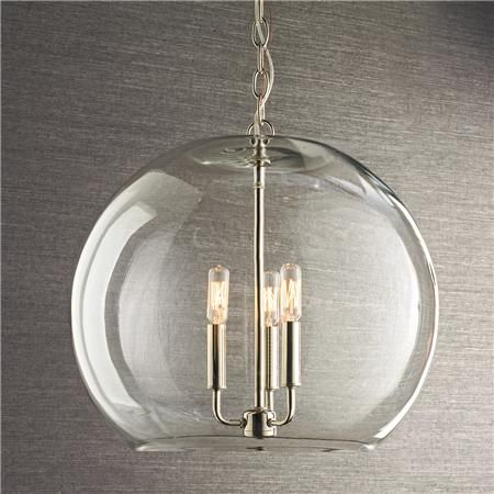 299 For The Entryway And Above Stair Landing Clear Glass Sphere Chandelier