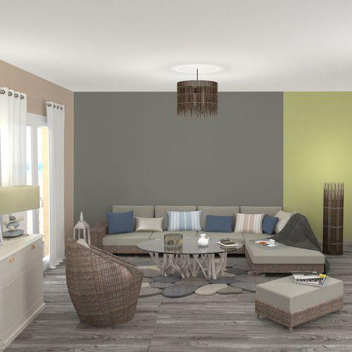 Dans ce salon nature, le mur taupe souligne le confort du canapé Il - creer une entree dans une maison