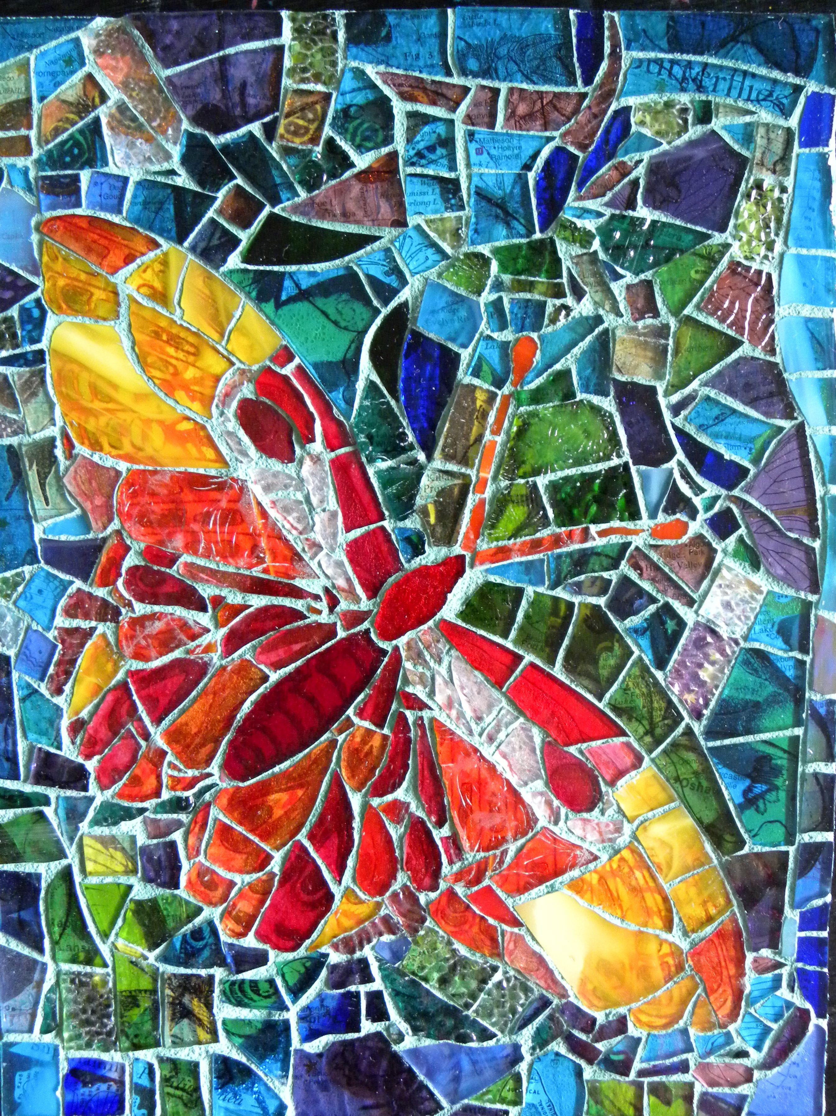 Sold custom made butterfly mosaic table top for mary ann in texas - Colorful Butterfly Mosaic Mosaicbutterflies Mosaicanimals