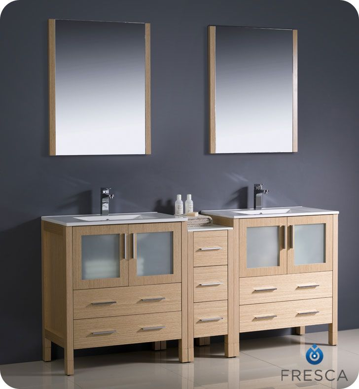Fresca 72 light oak double sink bathroom vanity side cabinet fresca 72 light oak double sink bathroom vanity side cabinet mirrors faucets mozeypictures Image collections
