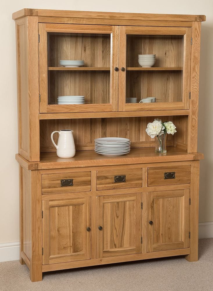 Cottage Solid Oak Wood Large Welsh Dresser Wall