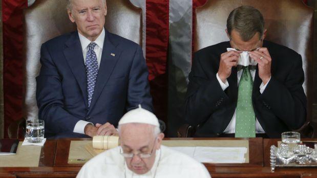 El presidente de la Cámara de Representantes no pudo evitar emocionarse durante la visita del Papa al Congreso de EE.UU. Setiembre 24, 2015.