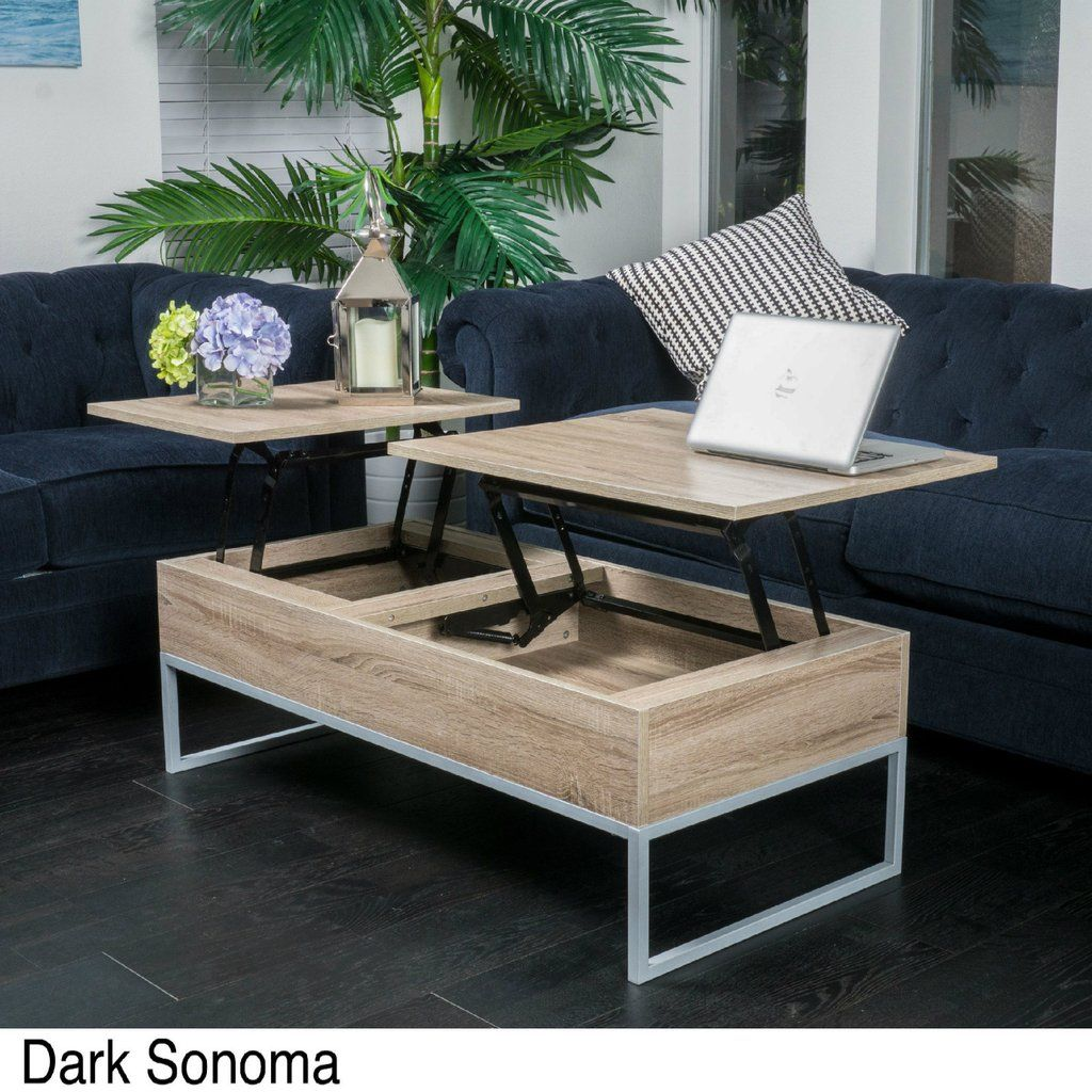 Lift Top Coffee Table Storage Pop Up Large Unique Brown ...
