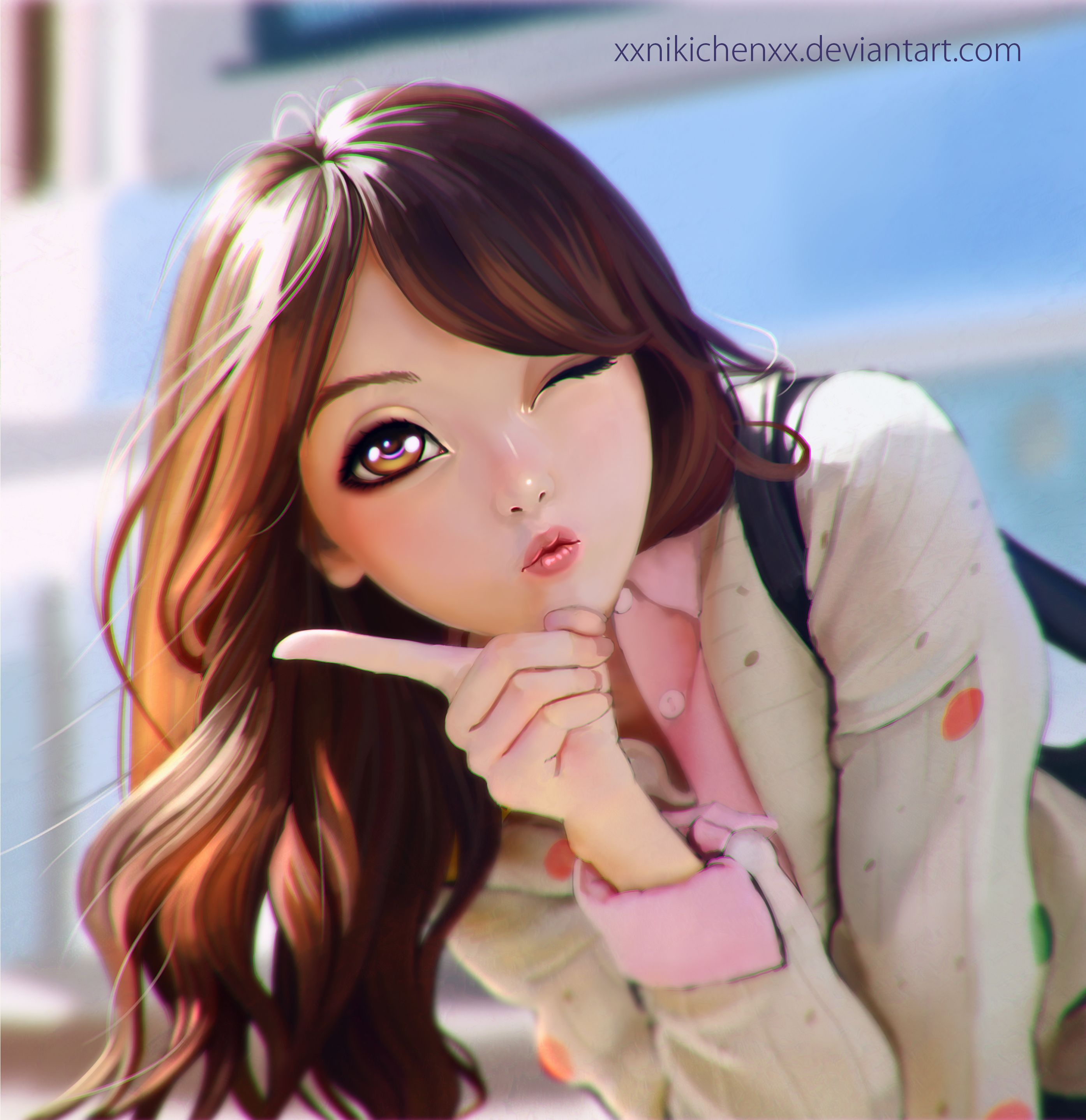 Anime Picture Search Engine 1girl Absurdres Brown Hair Face Highres Lips Long Hair Looking At Viewer One Eye Close Anime Art Girl Girly Art Digital Art Girl