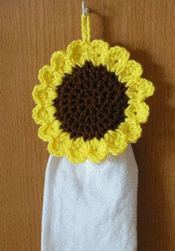 Kitchen Towel Crochet Pattern Toppers | ... Crochet Sunflower Towel Topper  Will Keep Your