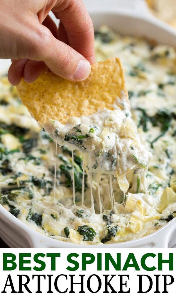 Ultimate Spinach Artichoke Dip! Easy to make oven baked version. It's rich and creamy, perfectly cheesy, loaded with spinach and artichokes and always a favorite! #spinachartichokedip #party #recipe #dip #appetizer #snack