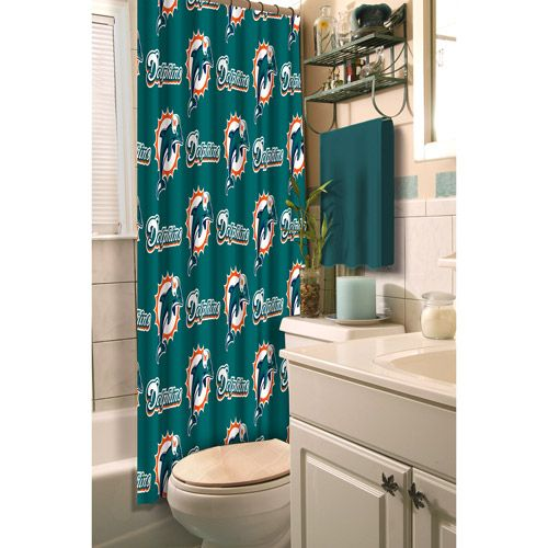 NFL Miami Dolphins Shower Curtain (With images) | Shower ...