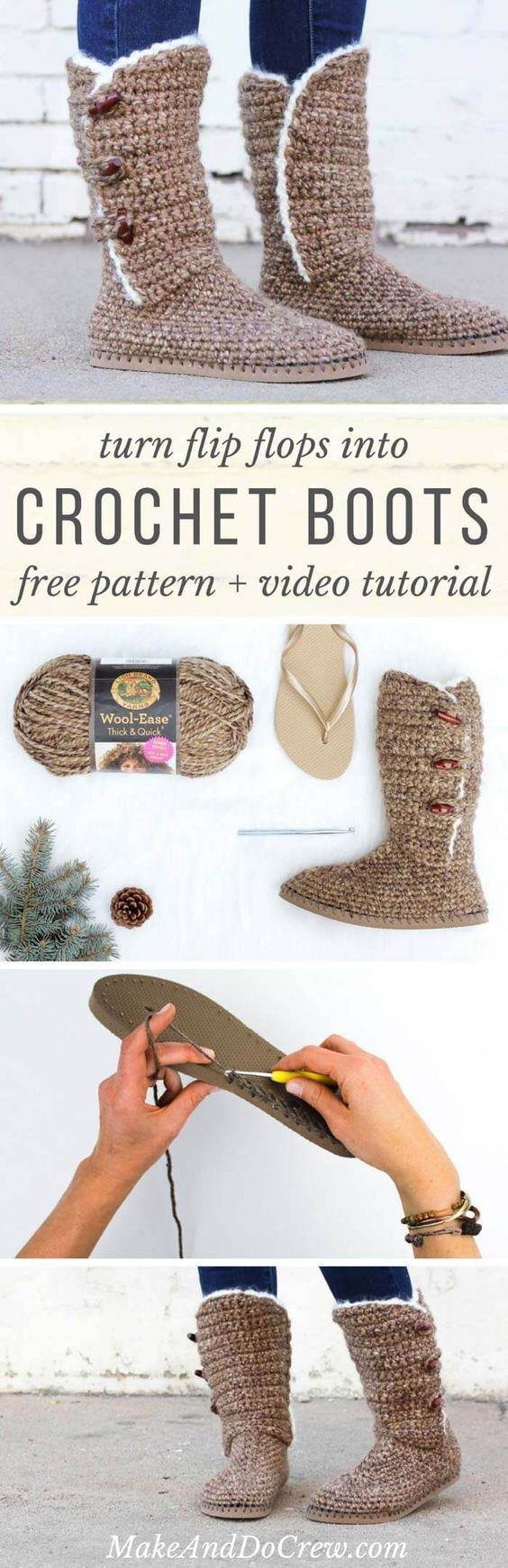 Crochet Boots With Flip Flop Soles - Free Pattern + Video | Tejido ...