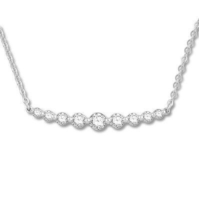 ba99cfc3be937 Colorless Diamond Bar Necklace 3 8 ct tw 14K White Gold 19