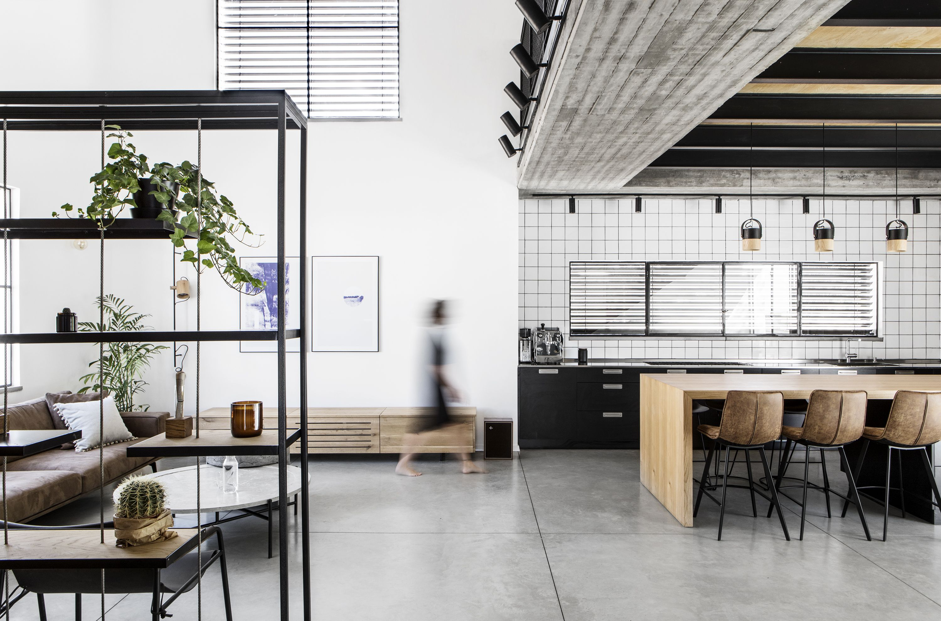 Monochrome minimal industrial home interior design by shir shtaigman photography itay benit