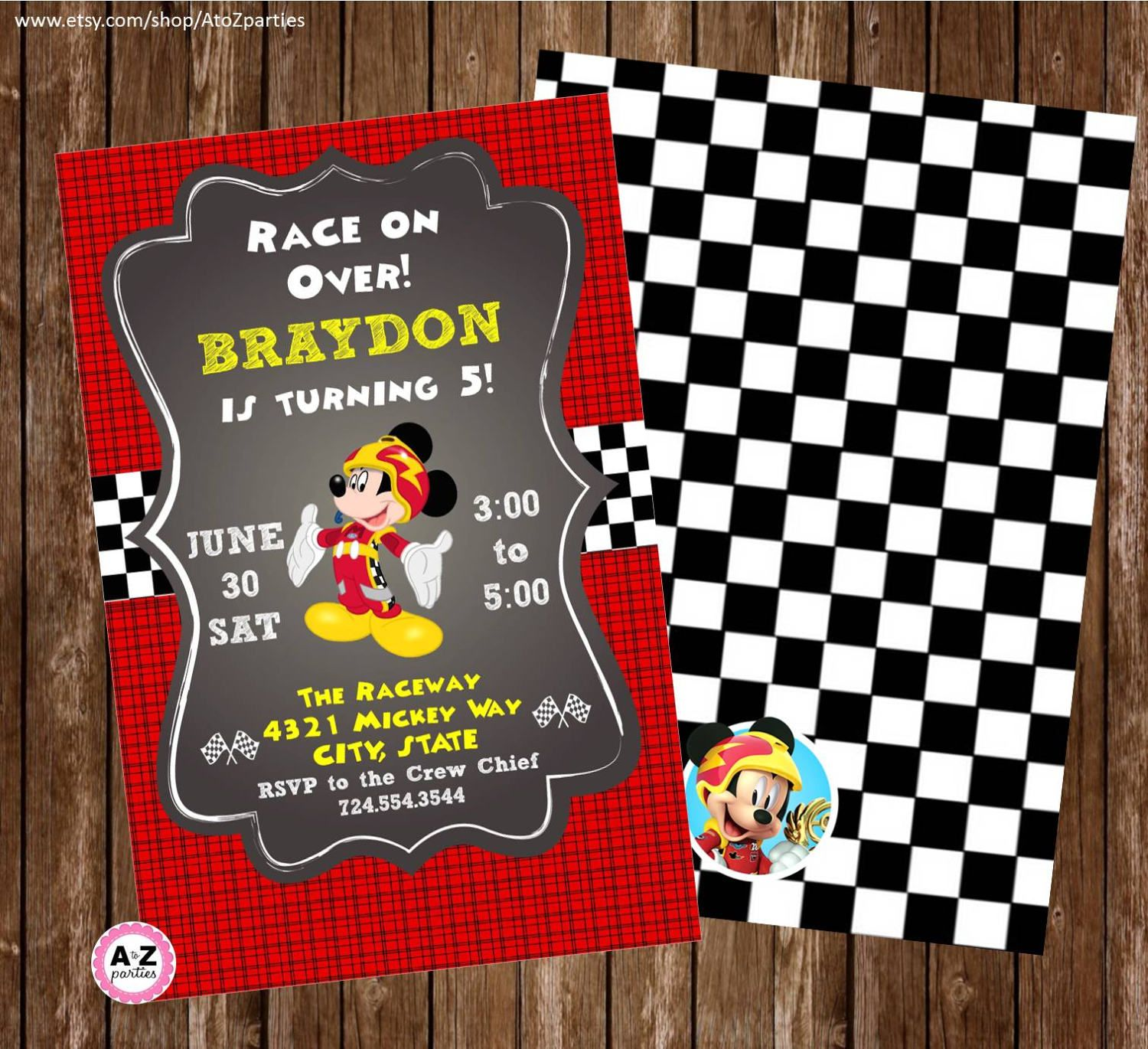 Mickey and the Roadster Racers Personalized Invitation, Printable ...