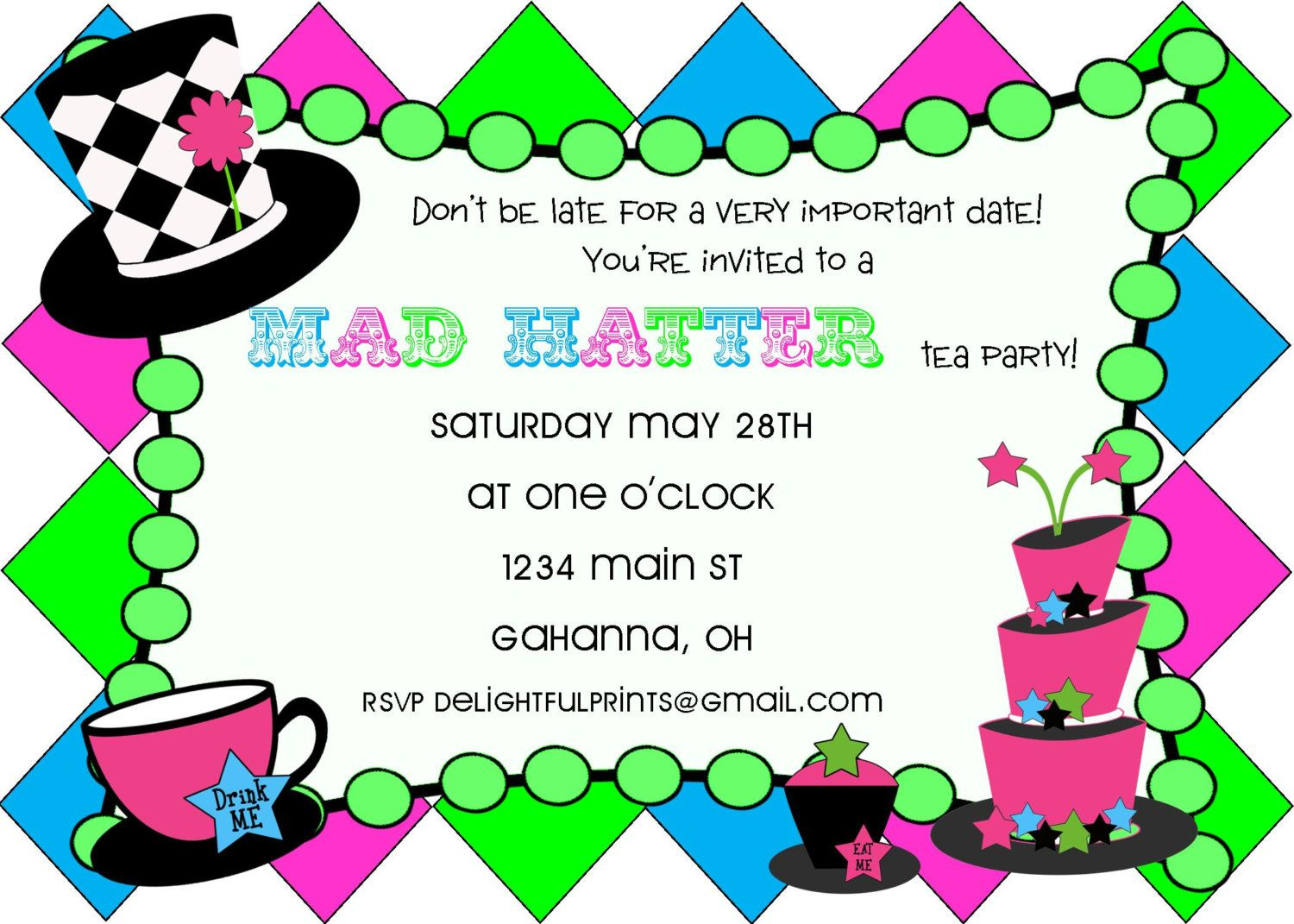 Mad Hatter tea party birthday or baby shower invitation...DIY you ...