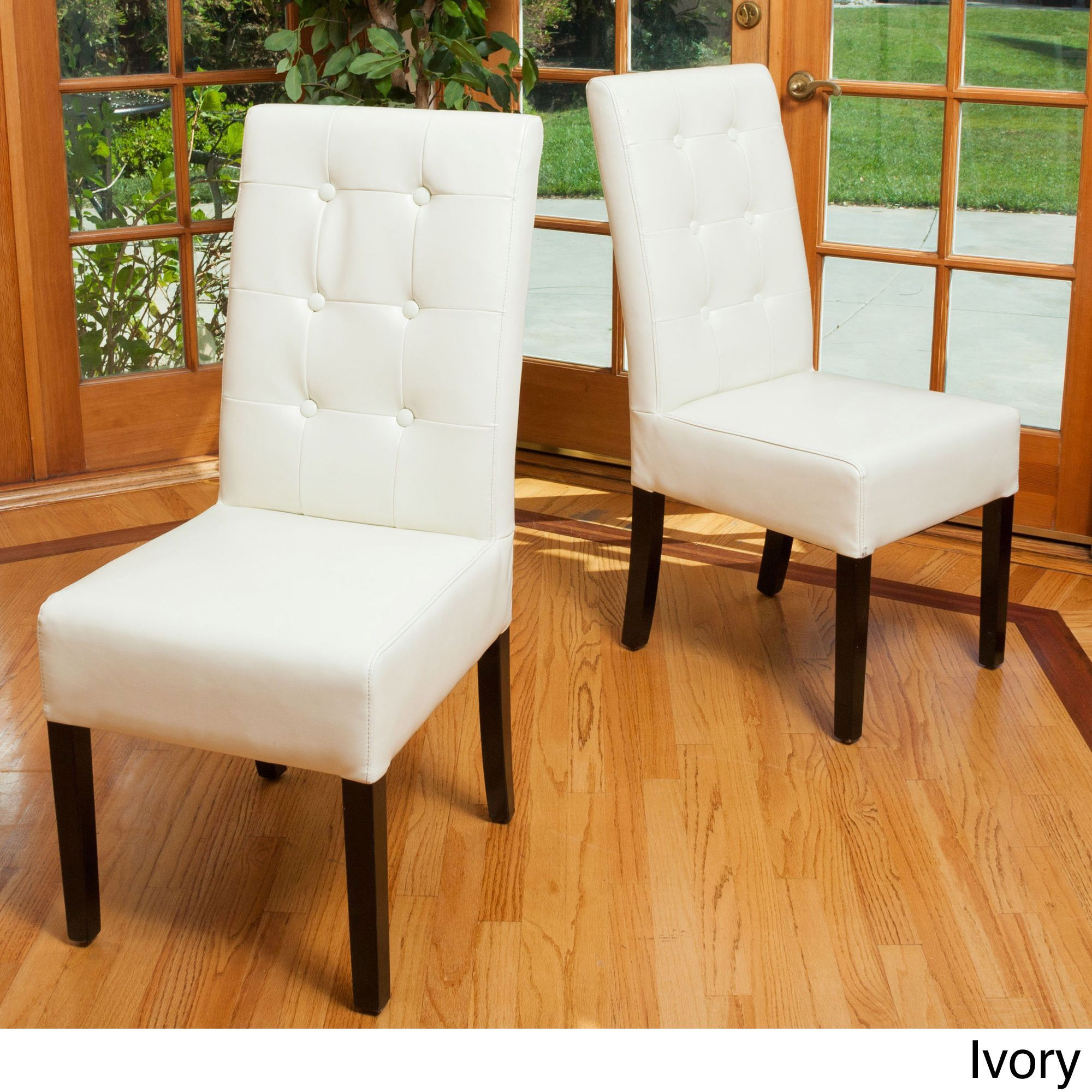 Christopher Knight Home Jace On Tufted Leather Dining Chair Set Of 2 Ivory Beige Off White Bonded