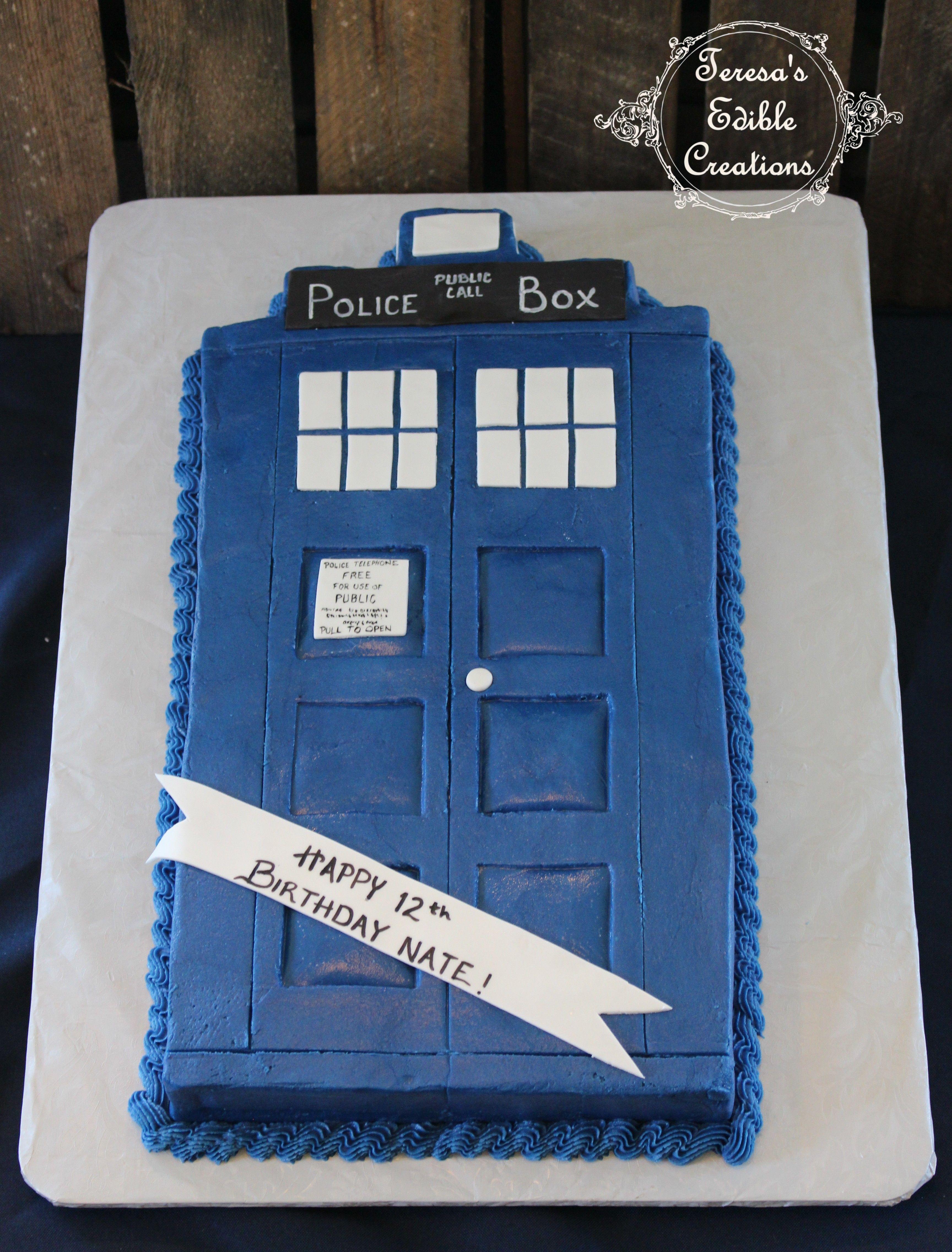 Tardis sheet cake My Cake Creations Pinterest Tardis
