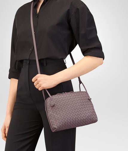 BOTTEGA VENETA SMALL MESSENGER BAG IN GLICINE INTRECCIATO NAPPA LEATHER  Crossbody bag D ap 262b52cc5cf23