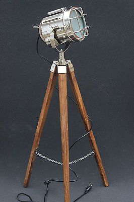 Hollywood Antique Marine Nautical Spotlight Decorative Floor Lamp Wooden Tripod