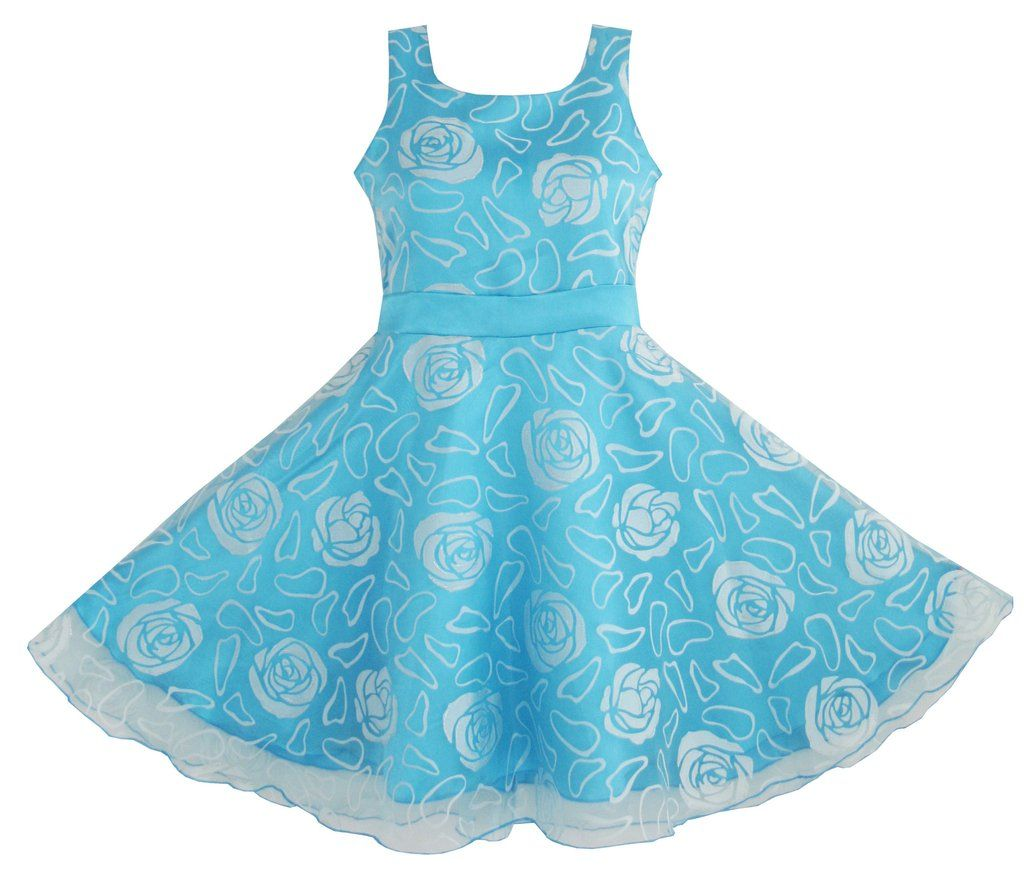 Girls Dress Blue Rose Wedding Pageant Size 4-12 Years   Rose wedding ...