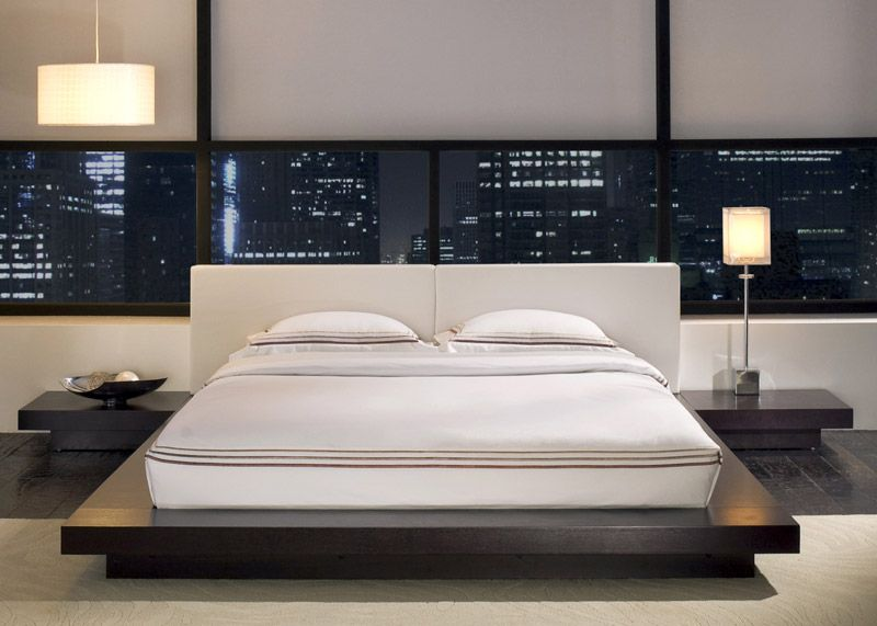 Worth White Leather Platform Bed In Wenge Contemporary Bedroom