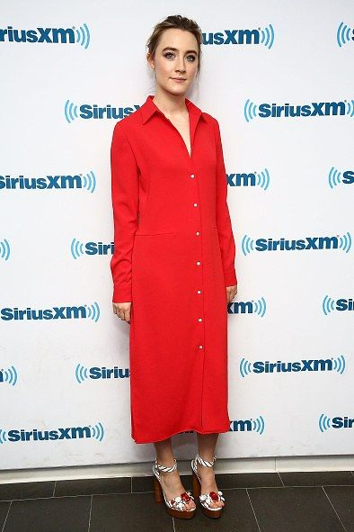 Copy these celebrity outfits to wear to the office: Try a boldly colored shirtdress with ankle-strap sandals. Click for more office outfit ideas!