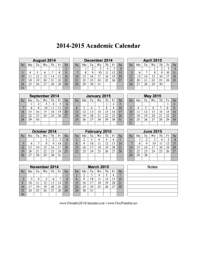 Academic Calendar Free To Download And Print  Ideas For