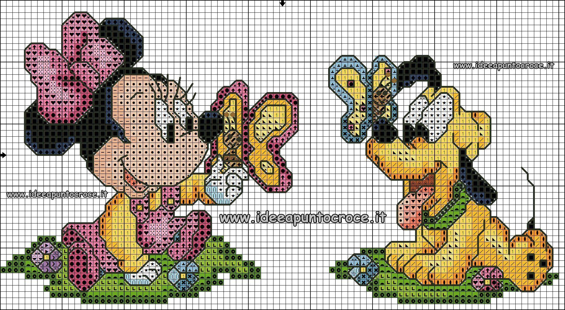 schema punto croce baby Minnie e Pluto altezza 50 punti circa ...