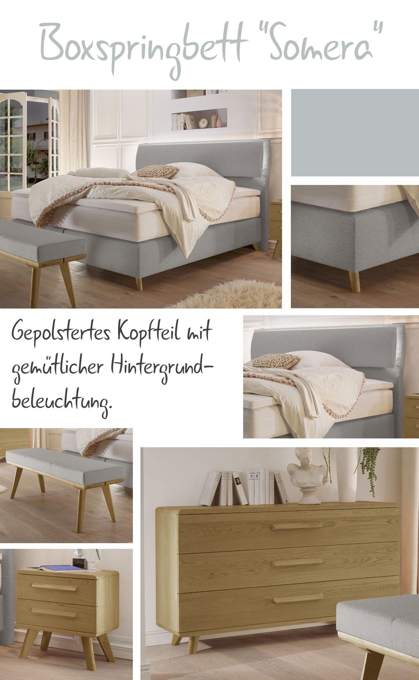 Komfortables Polsterbett mit optionaler Hintergrundbeleuchtung ...