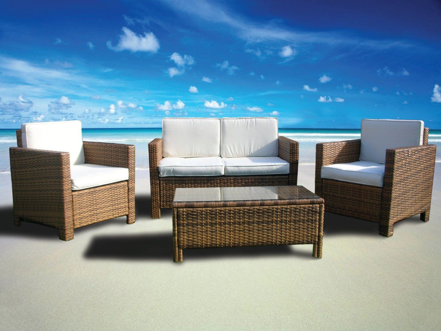 Miami Beach Collection 4 Pc Outdoor Rattan
