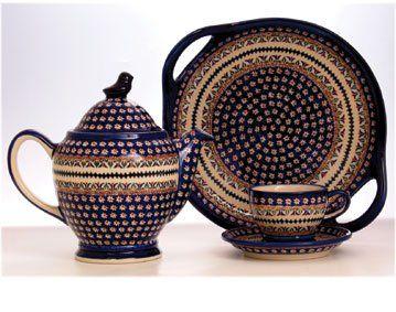 Zaklady Unikat ceramiczne boleslawiec  GU1334 Taca Tace dekoracja ART104 square 2 handled serving dish