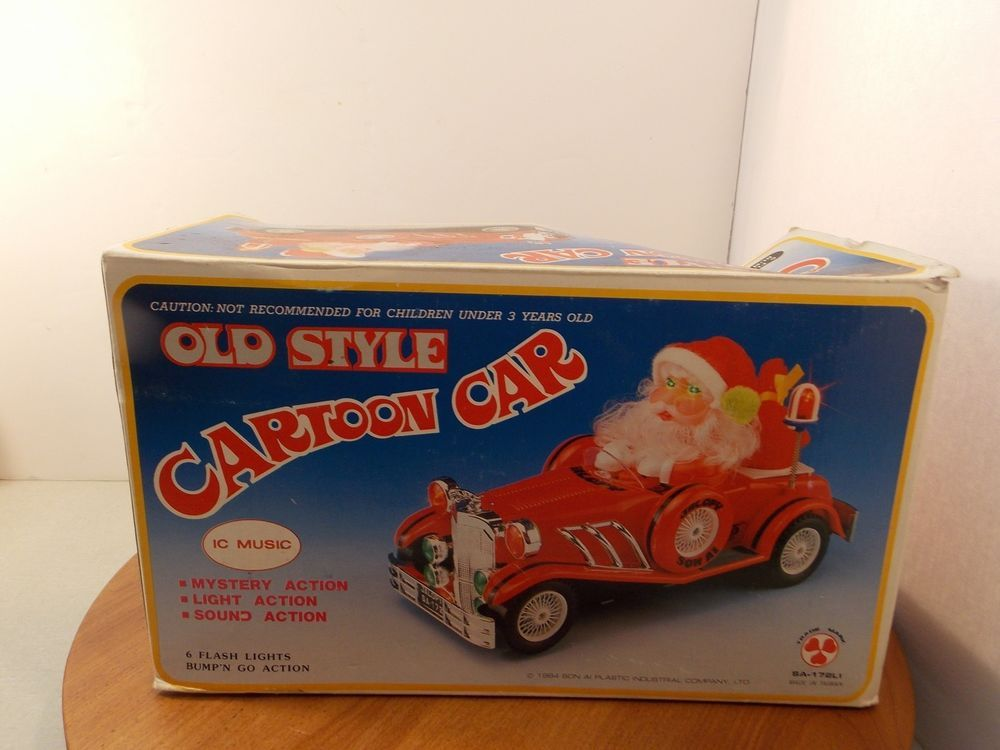 Santa Old Style Cartoon Car Jalopy Red Convertible new in box Santa ...