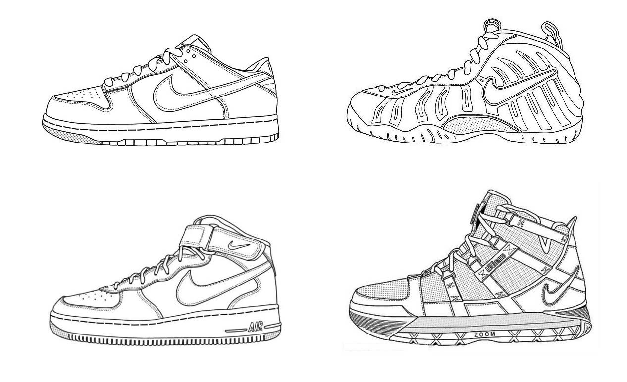 Kinds Of Nike Shoes Coloring Page | shoes coloring page | Pinterest ...