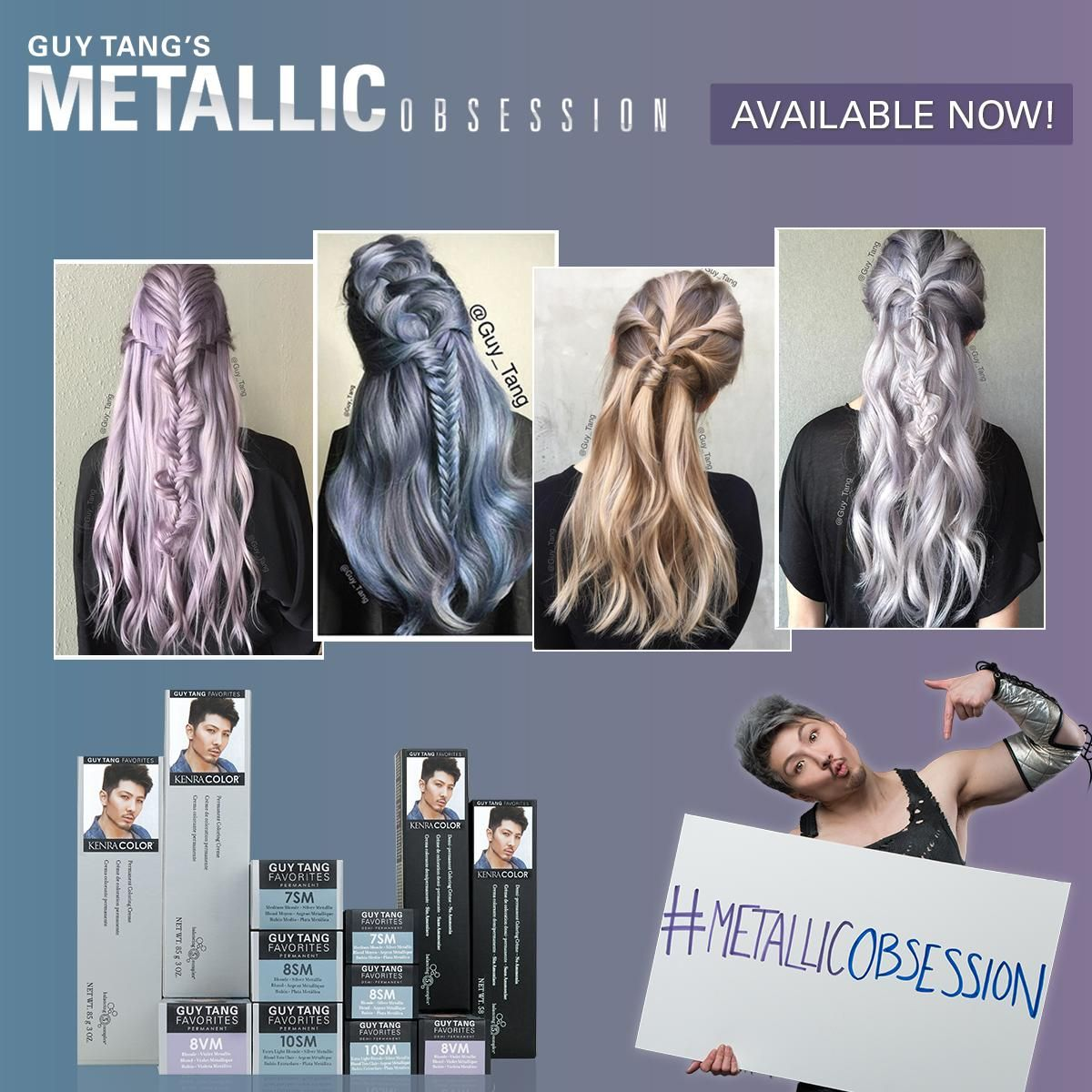 @Guy_Tang's #KenraColor #MetallicObsession shades are officially available today!! Visit your local distributor and purchase 3 shades to get Guy's journal with formulas, favorites and more! #GuyTangKenra #Kenra #HairBesties