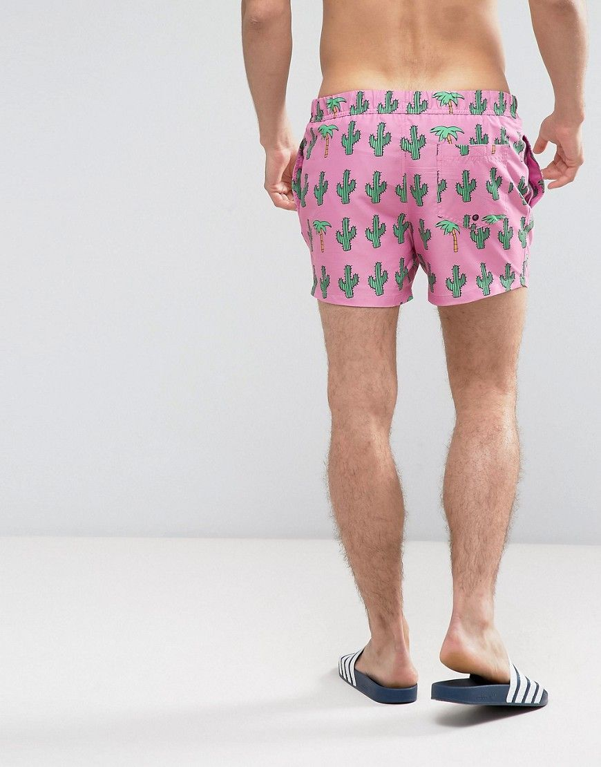 f26021ee105 ASOS Swim Shorts With Palm And Cactus Print In Short Length - Pink ...