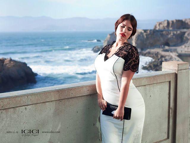 at Igigi black lace white dress