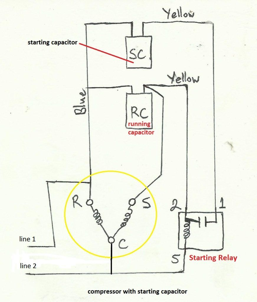 start capacitor wiring diagram in starting hvac refrigeration electrical wiring schematic with motors and compressors [ 871 x 1024 Pixel ]