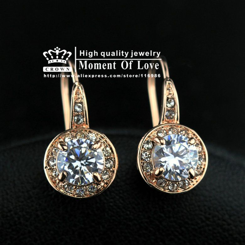 d76d253296 Free Shipping 1 Pair (CRE 755 52# AB) Top Quality 18 k Rose Gold 1ct Round  CZ Stone Hook Earrings High quality jewelry wholesale-in Drop Ear.