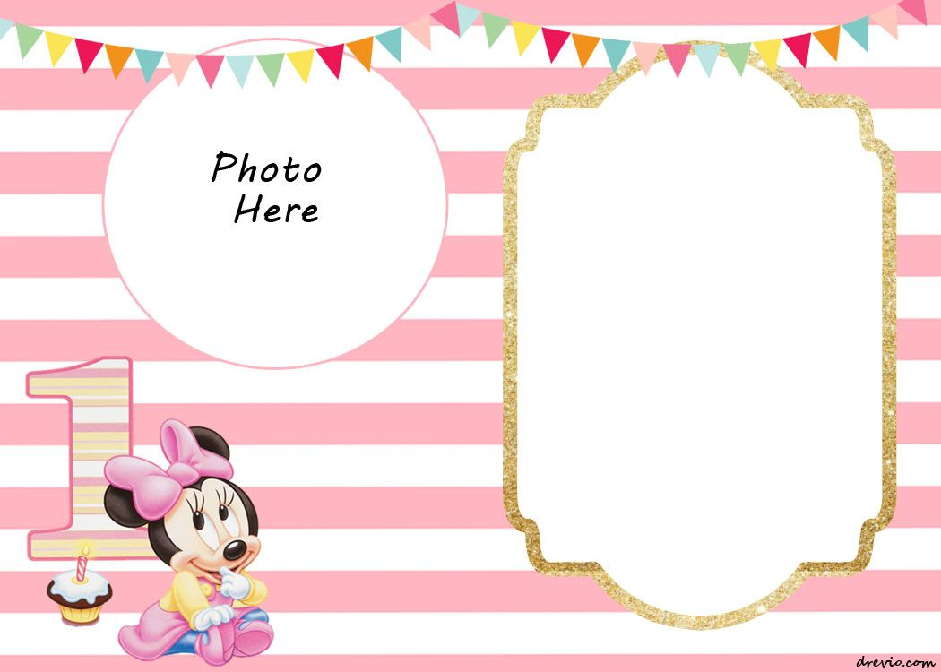 FREE Printable Minnie Mouse 1st Invitation Templates | Drevio ...