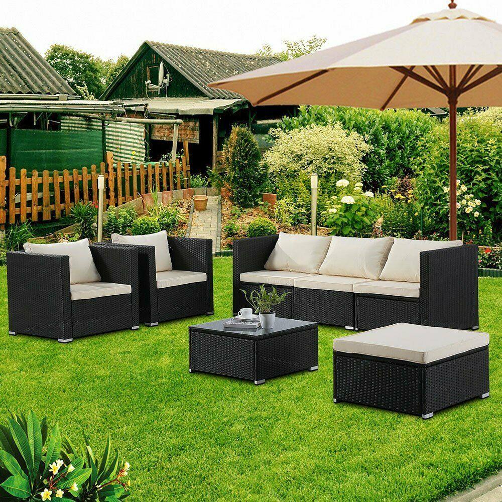 6pcs Patio Sofa Set Outdoor Wicker Furniture Garden Rattan Sectional Black Set 241 99 Pa Patio Sofa Set Outdoor Wicker Furniture Wicker Patio Furniture Set