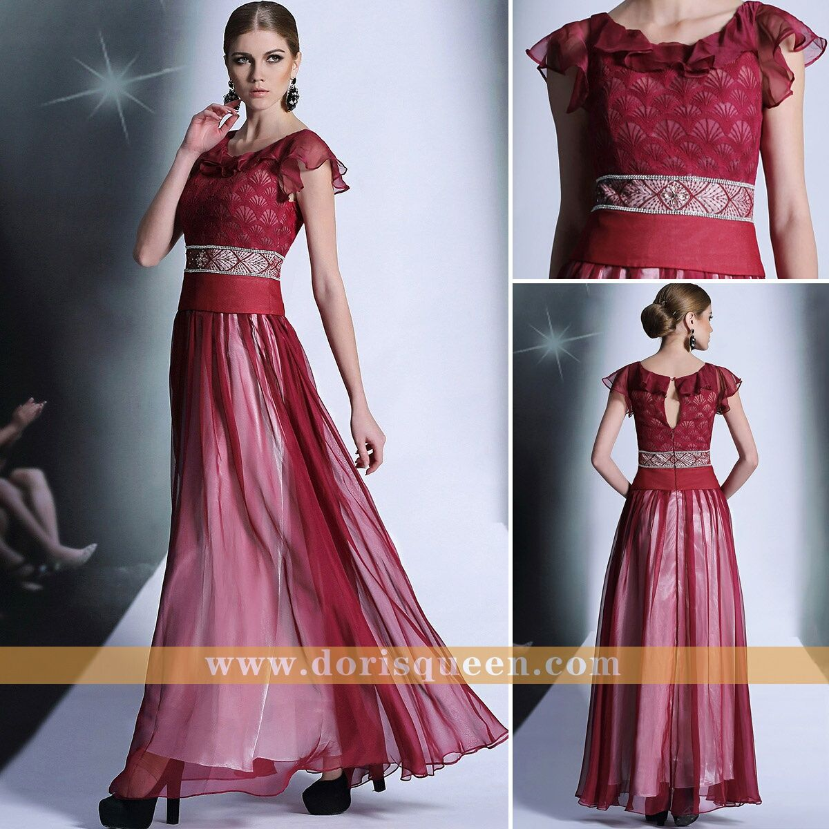 Dark red formal prom dresses cocktail dresses party celebrity