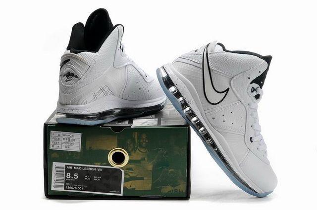 d9b58a6834d Nike Air Max LeBron VIII (8) Shoes White Black Blue