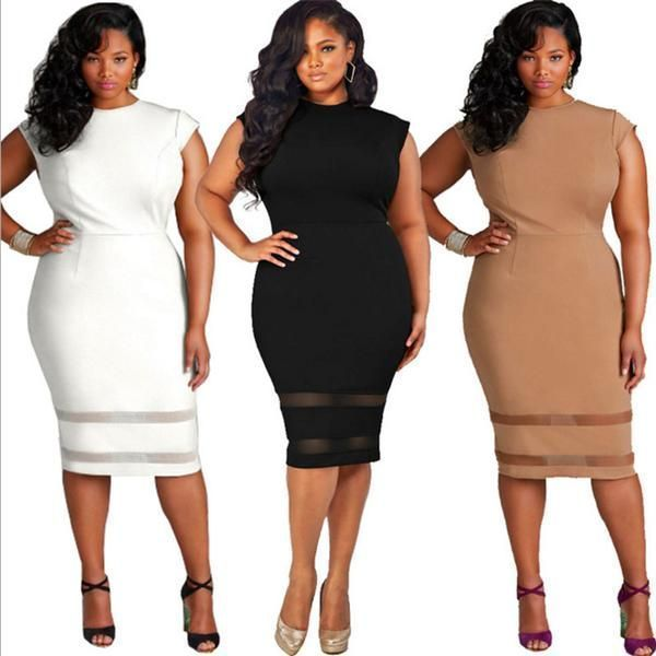 9e8341d6a9d Plus Size Women Clothing Slim Office Lady Elegant Bodycon Dress in ...