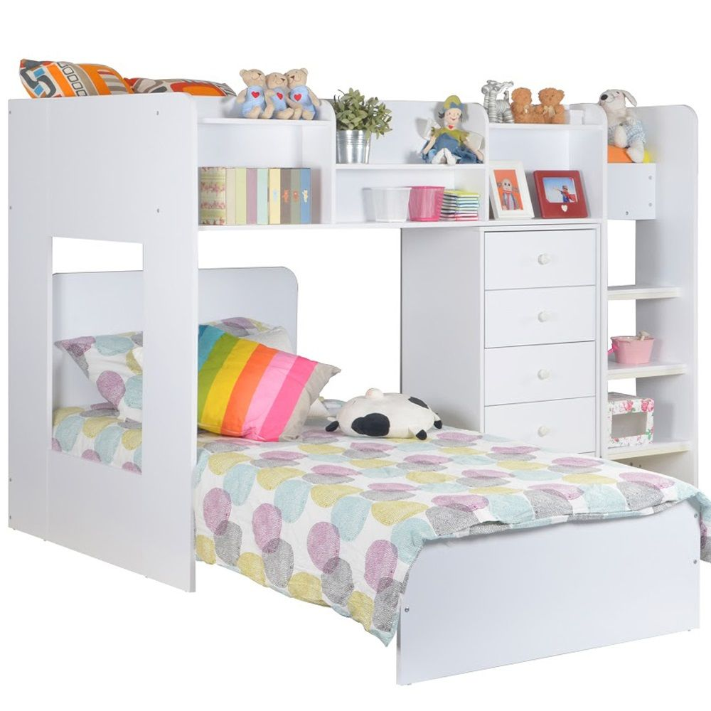 Best Kids Wizard L Shaped Bunk Bed In White L Shaped Bunk 640 x 480