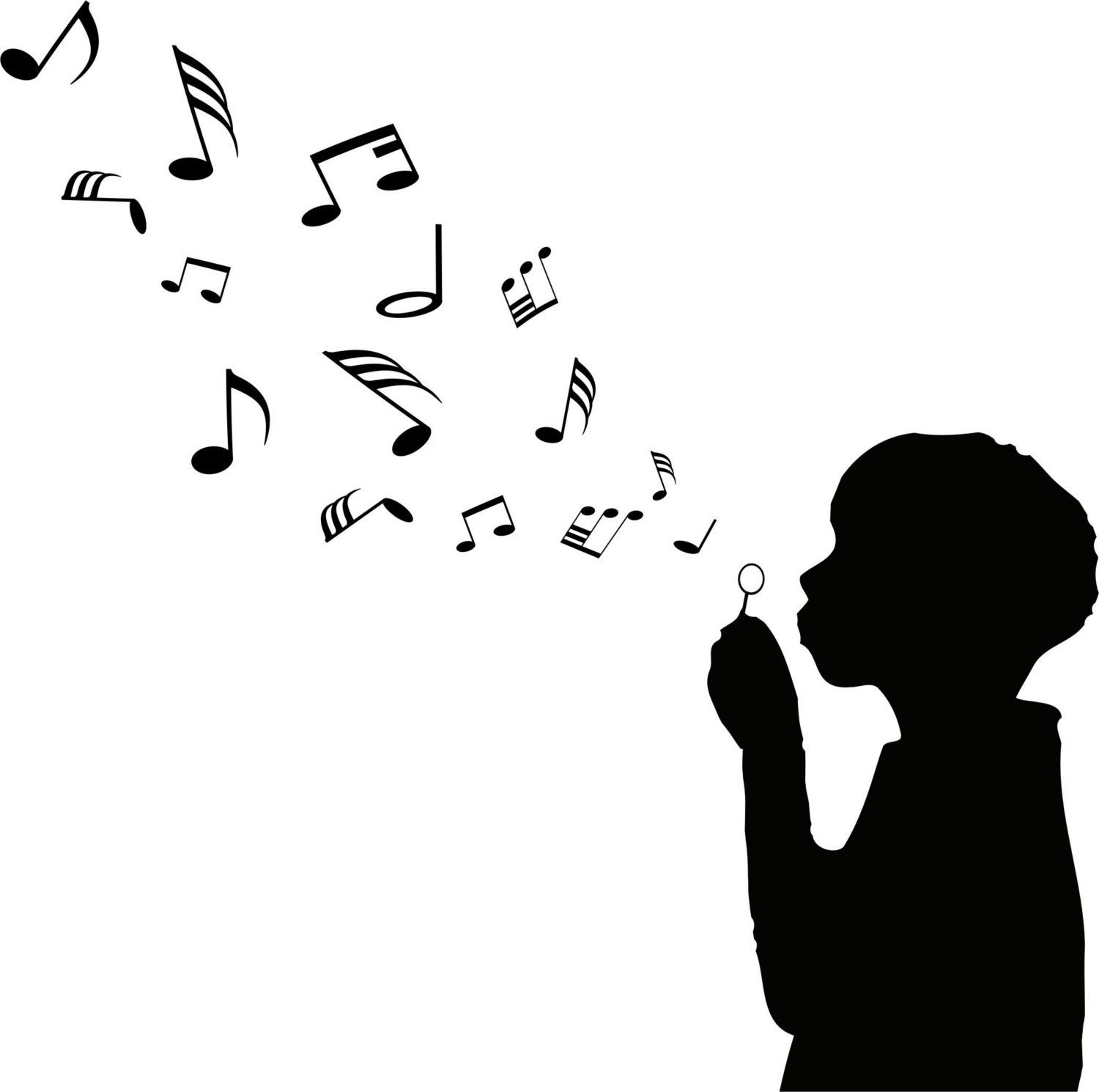 Boy Blowing Music Notes Wall Decal Sticker Bubbles Nursery Kid Room G