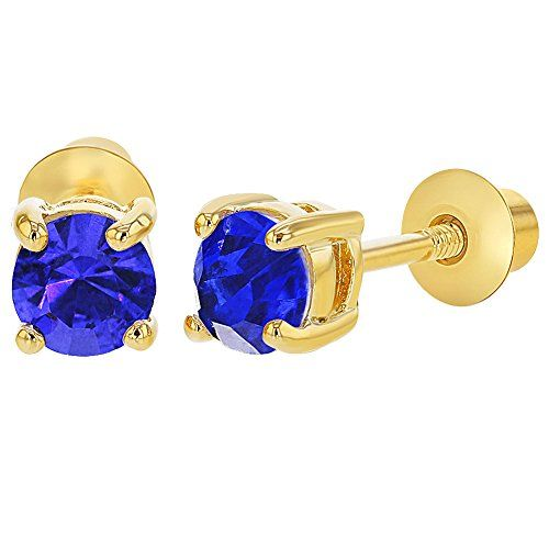 b56878b76 In Season Jewelry 18k Gold Plated September Blue Screw Back Girls Earrings  3mm