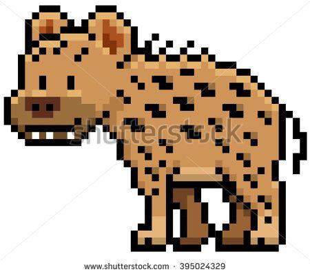 Vector illustration of Cartoon Hyena - Pixel design - stock vector