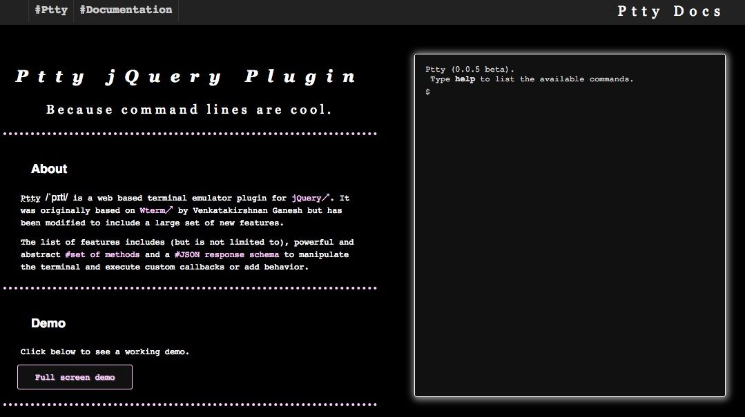 Ptty /ˈpɪti/ is a web based terminal emulator plugin for