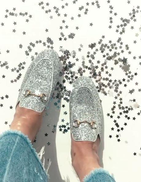 Silver glitter Gucci