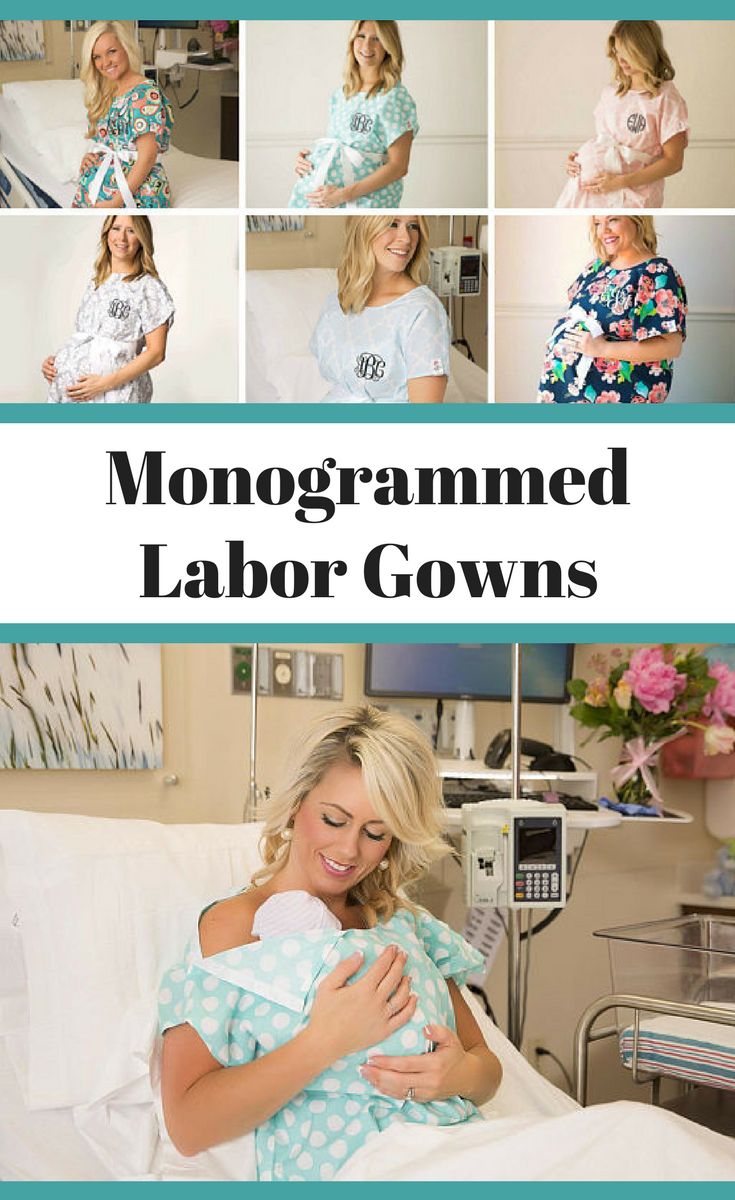 Monogrammed Labor Gowns..Personalized Delivery Gowns..Cute Hospital ...